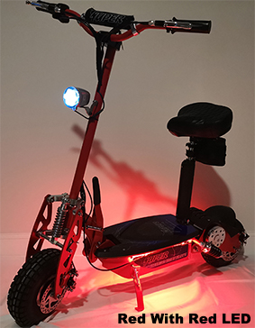 Super Turbo 1000-Elite LED Edition red electric scooter