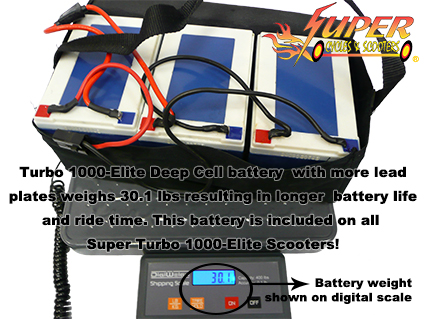 Super Turbo 1000-Elite deep cell battery weighs 30.1lbs