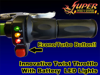 Innovative twist throttle with battery LED lights