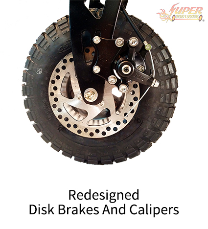 Redesigned disk brakes and calipers