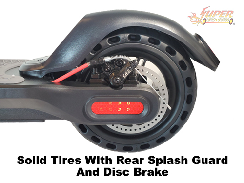 Solid tires with rear splash guard and disc brake