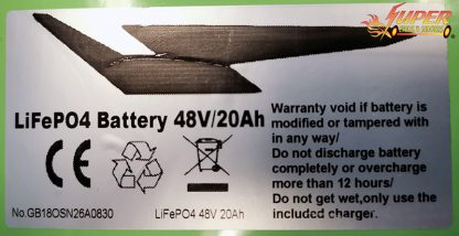 48v 20ah LifePo4 11in Battery W. Charger Green label closeup