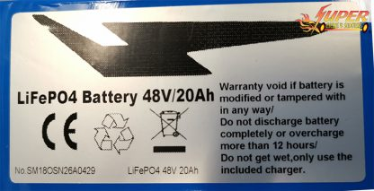 48v 20ah LifePo4 11in Battery W. Charger label closeup
