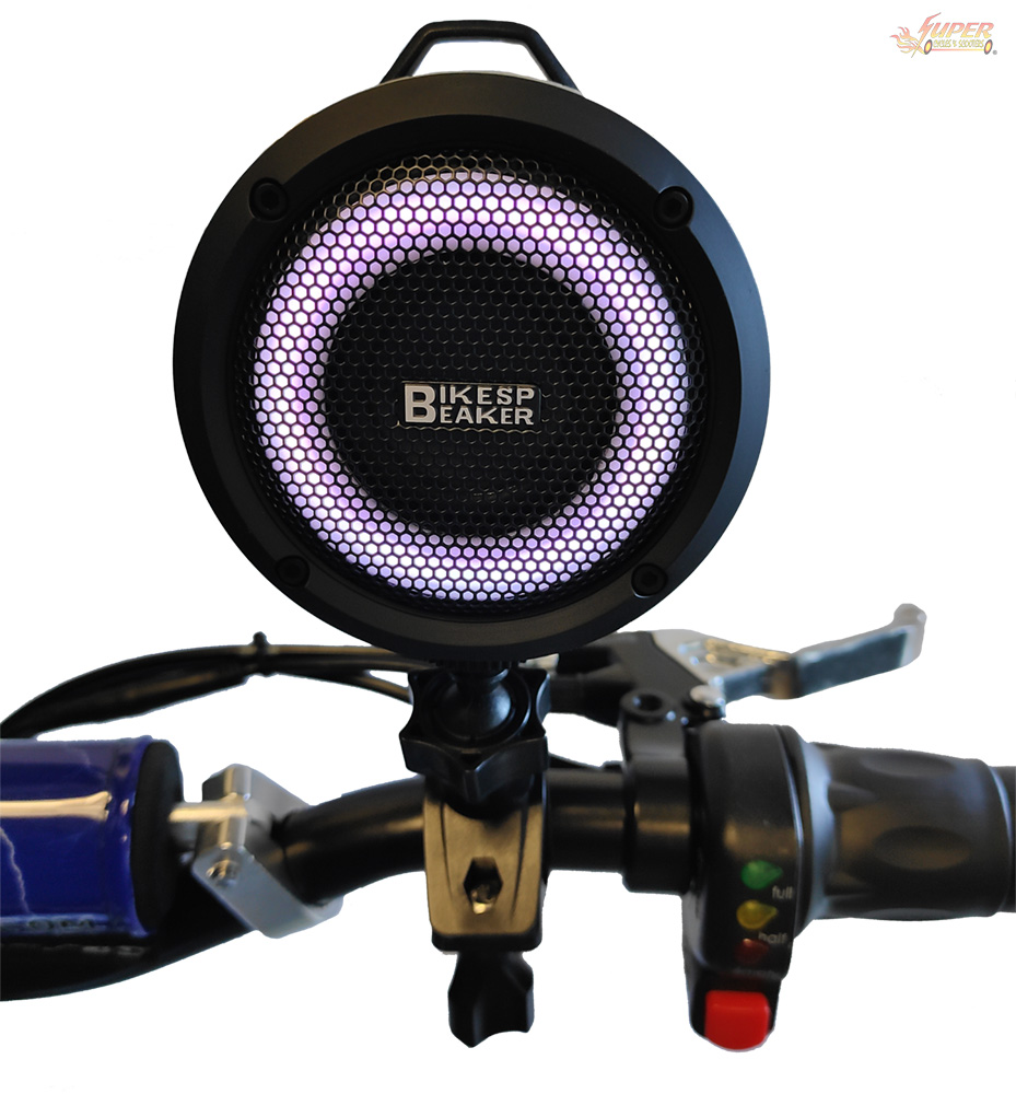 Bluetooth speaker mounted on scooter